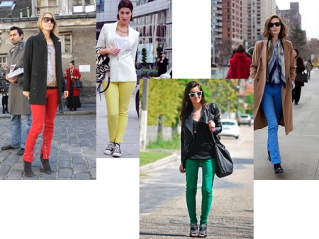 Brightly coloured jeans for winter