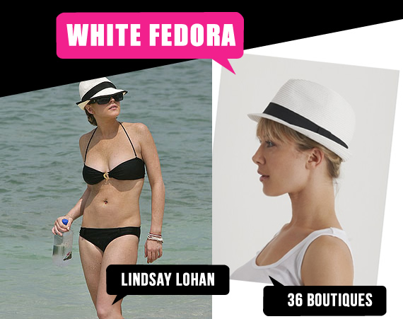 Lindsay Lohan wears a classic white fedora on the beach. We found this cute one from online store  36 Boutiques for R129. It's made of 100% paper and it's also available in other colours.