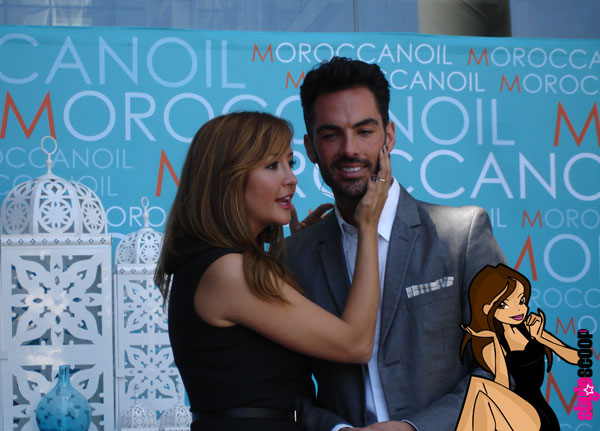 The team from Moroccan Oil New York, Artistic Director Antonio Corral-Calero with international brand manager Patricia, stay tuned to see her shoes, OMG you will die!