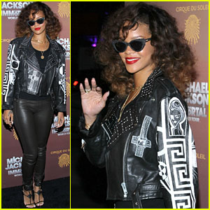 Rihanna steps out at the premiere of Cirque du Soleil's Michael Jackson: The Immortal World Tour on Saturday, 28 January (image via justjared.buzznet.com)