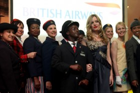 Georgia May Jagger and British Airways models wearing uniforms dating back to 1932, when the airline first opened the route to South Africa from London