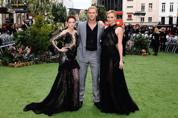 Kristen Stewart (Snow White), Chris Hemsworth (Huntsman) and Charlize Theron (Queen Ravenna) at the UK premiere of Snow White and the Huntsman