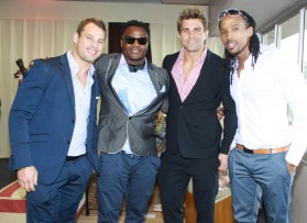 Vodacom Bulls rugby players (from left) Francois Hougaard, Chilliboy Ralepele, Wynand Olivier and Akona Ndungane
