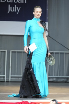 Kylie Potgieter wearing Pierre Fourie's third place creation in the Vodacom Durban July Fashion Challenge