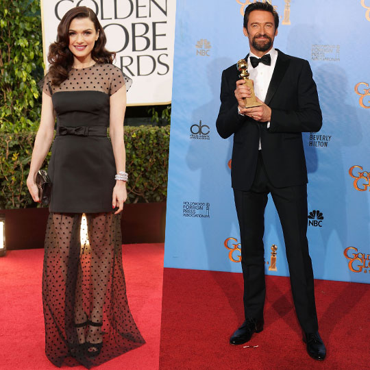 Rachel Weisz & Hugh Jackman in Louis Vuitton at the 70th Golden Globe Awards | www.stylescoop.co.za