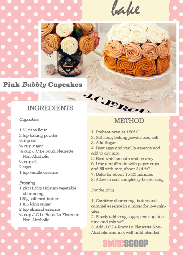 Pink Bubbly - Cupcake Recipe | More on StyleScoopMag.com