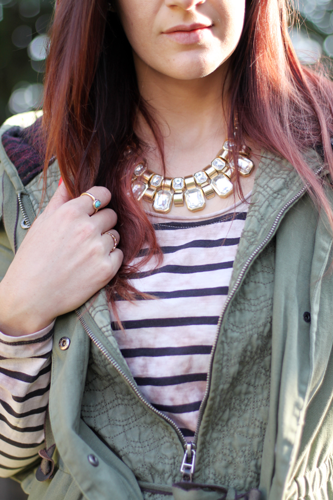 Weekend Casual #OOTD: Distressed Stripes & Military Green | More looks on www.stylescoopblog.com