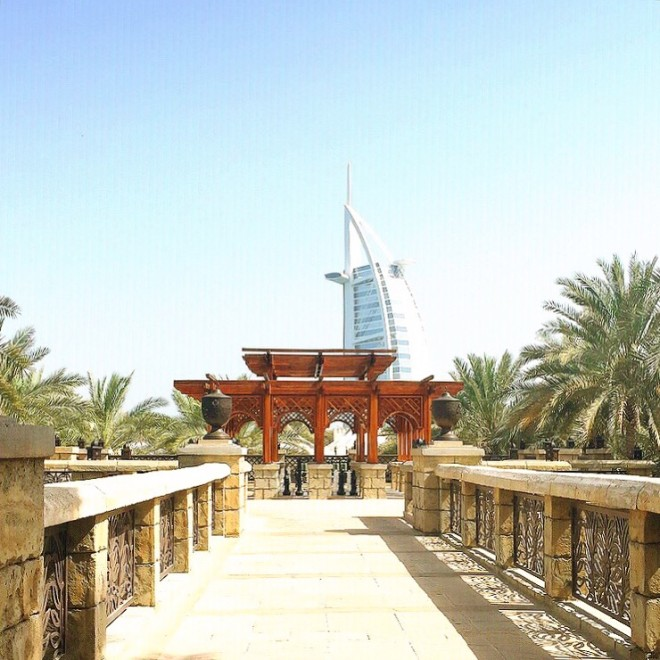 A view of the Burj Al Arab from the Madinat Jumeirah in Dubai