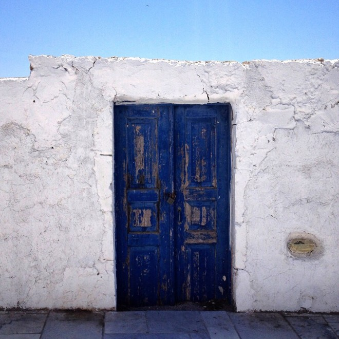 Blue doors in Santorini, Greece
