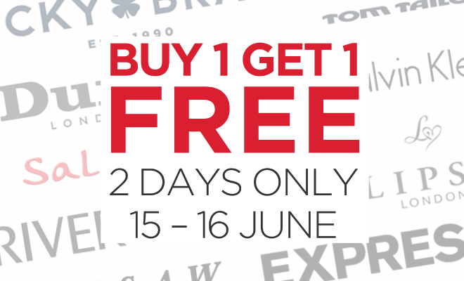 Buy 1 Get 1 Free on The Biggest Brands – 2 Days Only! Don't Miss it