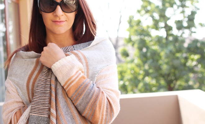 Tan & Grey Fringed Cardigan | ootd on StyleScoop