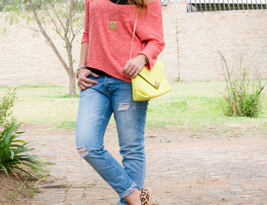 leopard-espadrilles-coral-jumper-yellow-bag-distressed-jeans-outfit-2