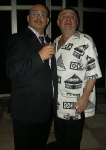 Isidingo's Robert Whitehead with stand-up comedian Mark Banks in a Mike Sutcliffe-inspired ensemble