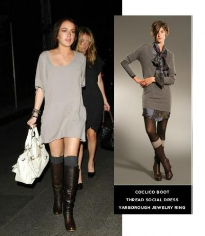 f13bad072f4 Lindsay Lohan has worked this look (below) and I think it s a pretty easy  way to wear the trend (and take your knee length boots to on-trend over-the- knee ...