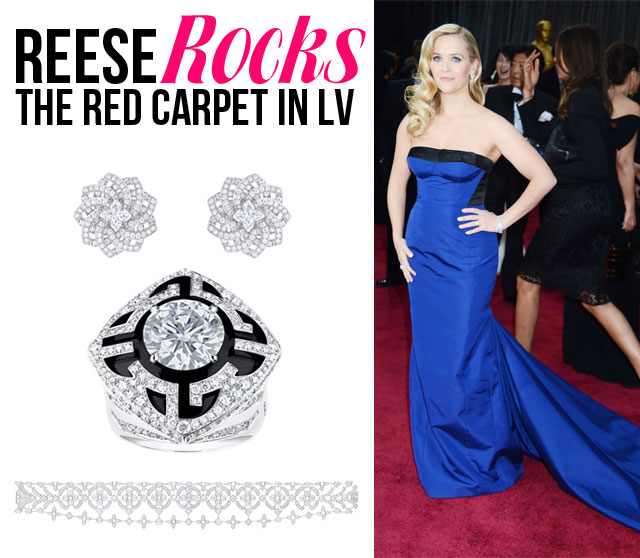 Reese Rocks The Red Carpet in a Blue Gown and Jewels