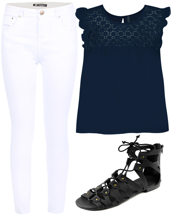 MRP-Summer-2015-fashion-white-jeans-black-lace-top-gladiator-sandals